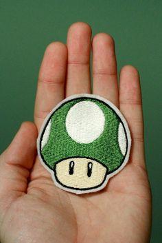 1 UP MUSHROOM--Nintendo Throwback Customizable Embroidered Iron-on Mario Patch