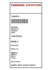 April Fools Prank Pretend Parking Ticket
