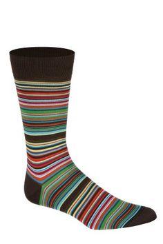 Dark Brown Vibrant Stripes Men's Socks by Bugatchi Uomo
