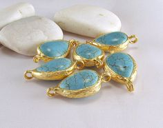 Turquoise Teardrop Matte Gold Plated Open Bezel by ShiShisBoutique, $6.00