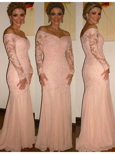 Trumpet/Mermaid Off-the-Shoulder Sweep Train Chiffon Lace Mother of the Bride Dress - Mother of the Bride Dresses - lalamira Lace Party Dresses, Mob Dresses, Lace Dress, Wedding Dresses, I Dress, Prom Dress, Wedding Themes, Lace Wedding, Wedding Venues