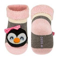 Chaussettes Hochet Pingouin - Rose/Gris