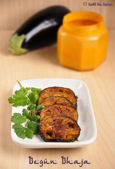 begin bhaja - bengali eggplant fry recipe - tawa baingan fry Pan Fried Eggplant, Eggplant Fries, Goan Recipes, Veg Recipes, Bengali Food, Appetisers, Recipe Using, I Love Food, Tandoori Chicken