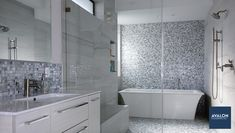Magical glass mosaic bathroom tilenn#bathroomtile #mosaictile #tiledbathroom #bathroomdesign