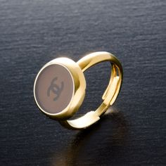 #Chanel gold tone #ring. Available at lxrco.com for $129
