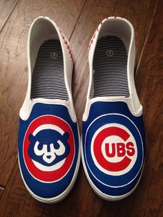 Custom Painted Shoes Chicago Cubs by PaperPaintScissors on Etsy