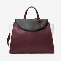 The Colorblock Large A Satchel in Rosewood/White