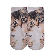 New Short Boy&Girls Socks Novelty socks Animal Cat Cute funny Low Cut Ankle Socks 3D Printed Cotton Socks