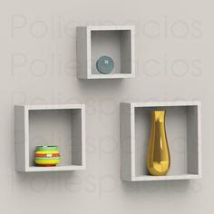 Cubos Flotantes Minimalistas Cuadros Decorativos Repisas Hm4 - $ 799.00
