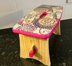 Pinks and purples ,girly mosaic stool p1
