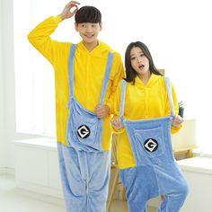 minion pajamas flannel pajama sleepwear homewear halloween christmas unicorn men women girl boy adult one piece cartoon male #Affiliate