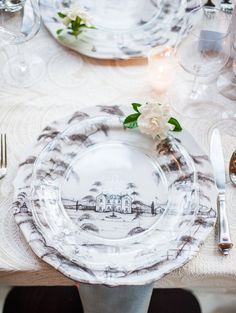 Juliska Country Estate in Flint layered with clear Colette