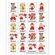 Fichier PDF téléchargeable Versions en couleurs et en noir et blanc 2 pages  Vous pouvez imprimer ces mérites sur un papier autocollant pour en faire des collants. Core French, French Classroom, Back 2 School, Saint Valentine, Math For Kids, Encouragement, Projects To Try, Animation, Stickers
