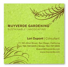 Seeded Paper Business Cards ~  Floral Swirls by Green Business Print - These cards are green but are available on all our seeded paper!