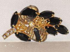 D&E Juliana Gold Plated Black Rhinestone by delightfullyvintage