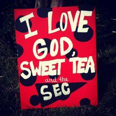 GO DAW.GS!!!!Love God Sweet Tea and the SEC canvas by ChristianCanvasArt, $14.00