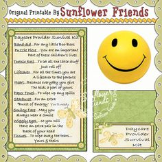 Daycare Provider Survival Kit - Click Image to Close Survival Kit Gifts, Craft Bags, Band Aid, Kid Activities, Life Savers, Novelty Gifts, Gag Gifts, Digital Stamps, Puzzle Pieces