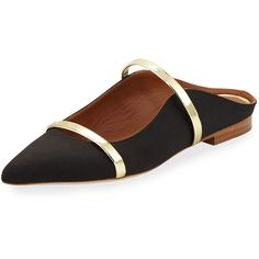 Malone Souliers Maureen Satin Mule Slide (1.570 BRL) ❤ liked on Polyvore featuring shoes, black, shoes ballerina flats, black ballerina flats, ballerina flat shoes, flat pumps, black ballet shoes and mule shoes