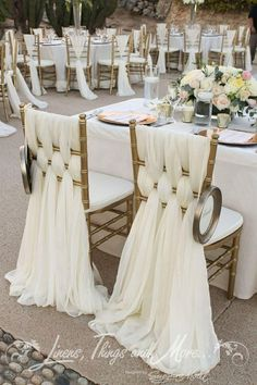Lovely and elegant display for chairs at a wedding ceremony and / or reception or other formal event.