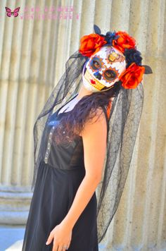 Lady of the Night - Day of the Dead Mask with Veil - Dia de los muertos bride- Bat Skull Tattoo Flash Art with Black and Fire Orange Roses on Etsy, $150.00