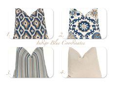 Decorative Throw Pillow Cover One 18 x 18 Navy Taupe Aqua on Linen Cushion Sofa Pillows Indigo Blue Mix and Match. $18.00, via Etsy.
