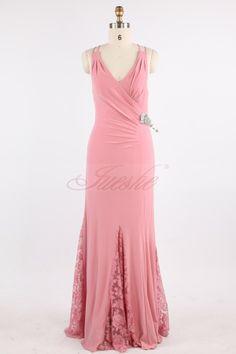 Elegant Pink V-neck Satin Evening Dress with Lace JSLD0147