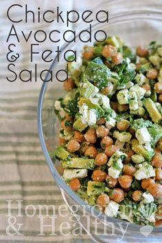 Chickpea, Avocado & Feta Salad. Perfect #EarthHourUK sharing food!