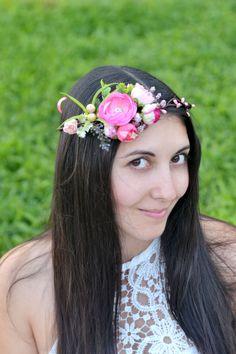 Corona de flores nupcial rosa floral corona Boho niña de por Vualia