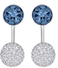 bf033e8b4 This chic, modern pair of pierced earrings has a galactic feel with its  spheres in palladium-plated metal and blue crystal pavé. Wear them as  simple stud ...