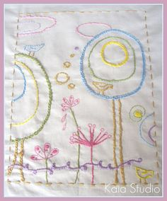 Sweet doodle embroidery. Great way to keep a child's drawing!