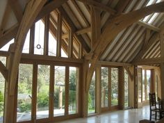 Magnificent green oak frame inside Great Barn House on edge of Exmoor National Park