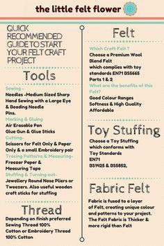 Felt tips & Tricks Quick guide to start your felt project Felt Diy, Felt Crafts, Craft Tutorials, Sewing Tutorials, Felt Patterns, Felt Flowers, Get Started, Hand Sewing, How To Get