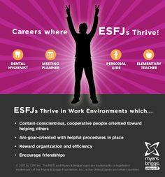 The careers and workplaces where ESFJs thrive! #MBTI #myersbriggs #careers