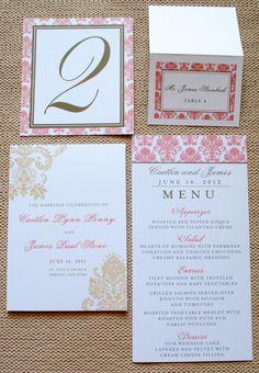 Designer Damask Wedding Suite Ceremony Program, Table Numbers, Place/Escort Card, Menu - Pink, Coral, Gold. $7.00, via Etsy.