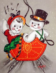 A darling vintage snowman greeting. #vintage #Christmas #cards