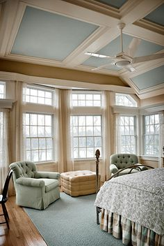 Coffered ceiling - continue wall color to ceiling, white beams on top. Heighten or shrink average ceilings? Would be charming in a Boston home.