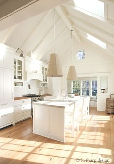 coastal loft kitchen by lisa k. tharp - antique pine floors, concrete countertop, custom cabinetry