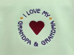 Onesie Baby Clothes I Love My Grandpa & Grandpma embroidered design on a one piece baby bodysuit long or short sleeve (JL011)