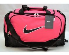Nike Duffel Gym Holdall Bag Pink Black Medium Size Woman Girl Sports Weekend 5 #Nike