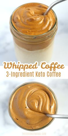Whipped Coffee (Easy Keto Recipe) Creamy whipped coffee (also know as Dalgona Coffee) is a beverage made with instant coffee, sugar (or sweetener), and water. It's whipped into a creamy coffee and is served cold over chilled milk. Low Carb Drinks, Low Carb Desserts, Low Carb Recipes, Diet Recipes, Cake Recipes, Healthy Recipes, Keto Coffee Recipe, Coffee Recipes, Coffee Whipped Cream Recipe