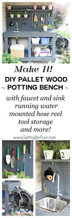 Love to garden? How to make a gorgeous DIY Potting Bench from FREE pallet wood! Has ALL the bells and whistles: a faucet, sink, running water, mounted hose reel, shelves, tool storage, pegboard and more! Organize all your garden tools and supplies! Free tutorial instructions and supply list included. www.settingforfour.com
