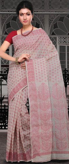 Off #White and #Red Bengal Handloom #Cotton Tant #Saree With #Blouse @ US $79.54