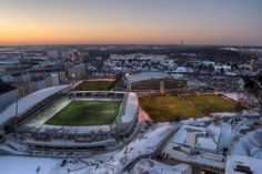 HDR in Helsinki: Sonera Stadium The famous football stadium Sonera Stadium lies in the district of Töölö. Before it was known as Finnair Stadium but then Sonera bought it and re-named it.  The pic is taken from the tower of the Olympic Stadium which lies next to Sonera Stadium.