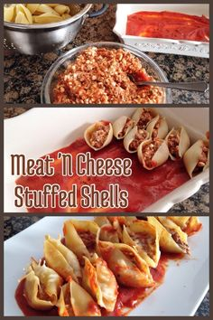 Meat & Cheese Stuffed Shells - this looks great, I've been wanting to make stuffed shells but without tons of cheese. I'll use ricotta though, not cottage cheese, cause cottage cheese is gross (no offense) - FoodForYourCell