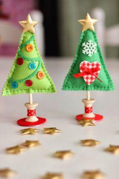 weihnachtsdeko selber basteln aus filz weihnachtsbäume