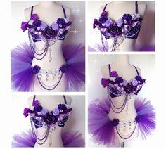 Purple Lavender Floral Rave Outfit  Rave Bra Half by VinylDolls
