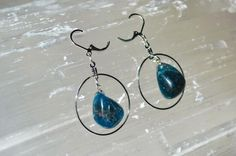 Apatite Earrings . Apatite Hoop Dangle Earrings . Reiki Healing Apatite Earrings . Throat Chakra Earrings . Blue Stone Earrings by StarshineInnovations on Etsy