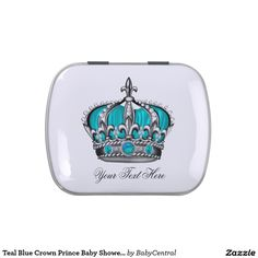 Teal Blue Crown Prince Baby Shower Candy Candy Tins