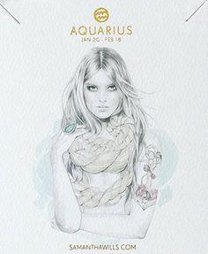 kelly smith illustration & samantha wills jewelry // aquarius. #aquarius #astrology #zodiac