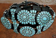 Sterling Silver  Turquoise Concha Concho Belt by Navajo artist, Julia Willia